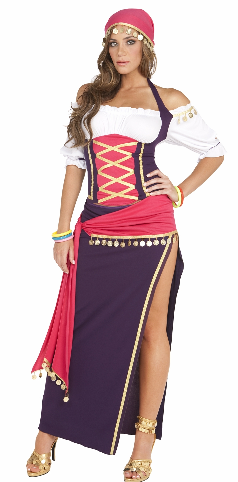 9225 5pc Gypsy Maiden Fortune Teller Halloween Costume S-L by Elegant Moments