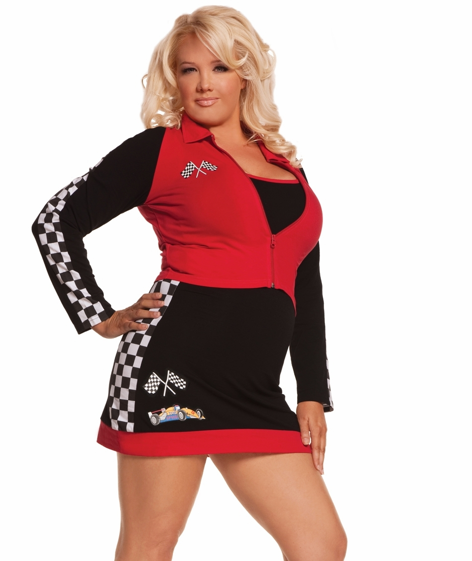 9539x 2pc Plus Size High Speed Hottie Racer Halloween Costume