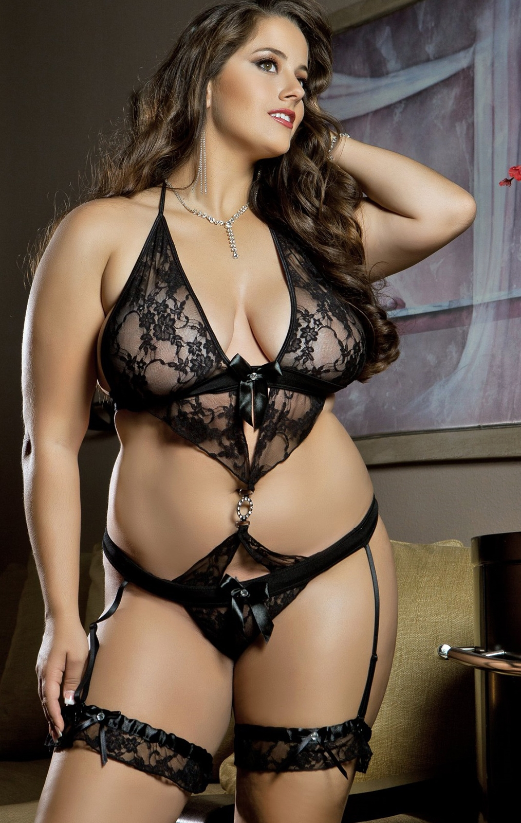 B958p Plus Size 2pc Luxurious Lace Teddy by Gworld