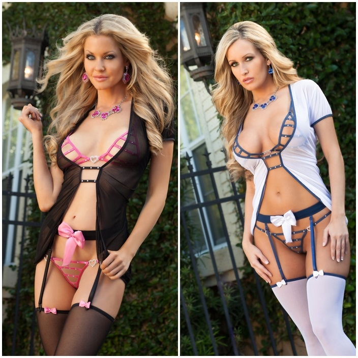 D1302 5pc Sheerly Sexy Robe & Garterbelt Stocking Set by Gworld