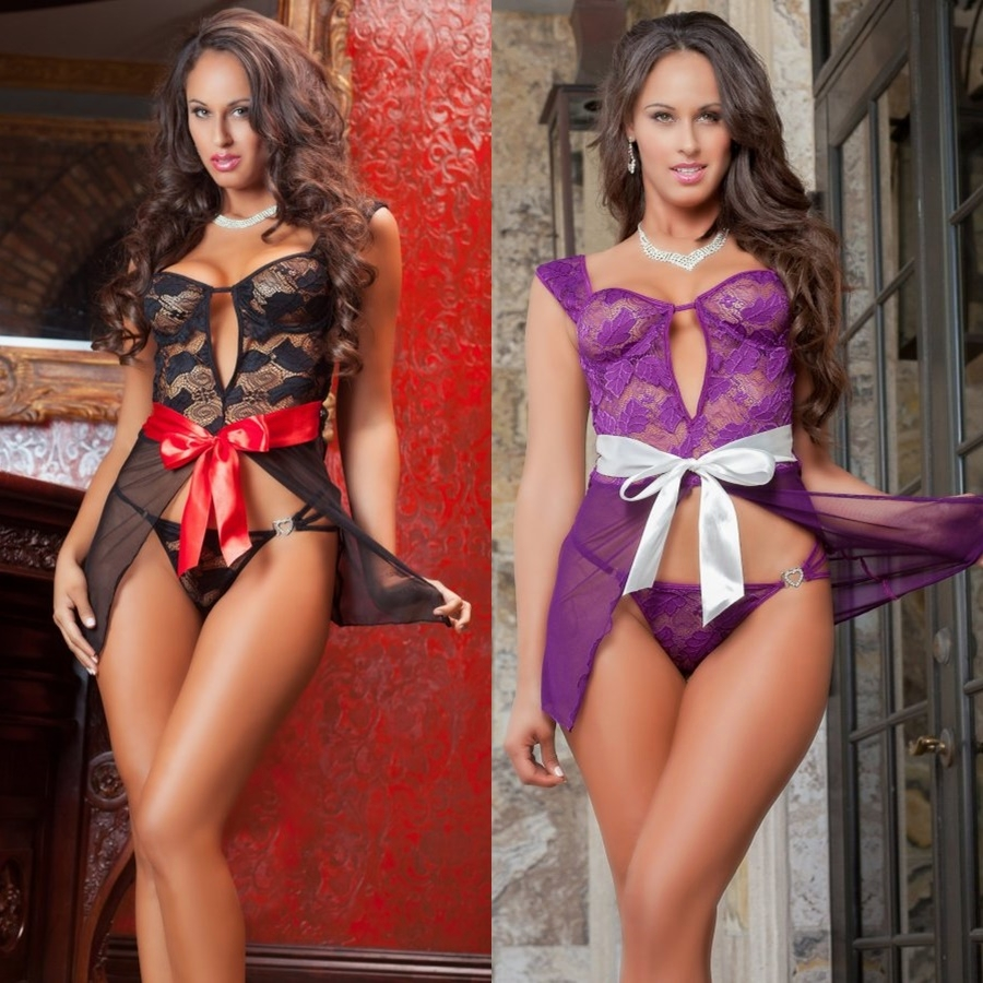 D1435 2pc Parisien Ladylove Mesh & Satin Gown & Thong Lingerie Set by Gworld