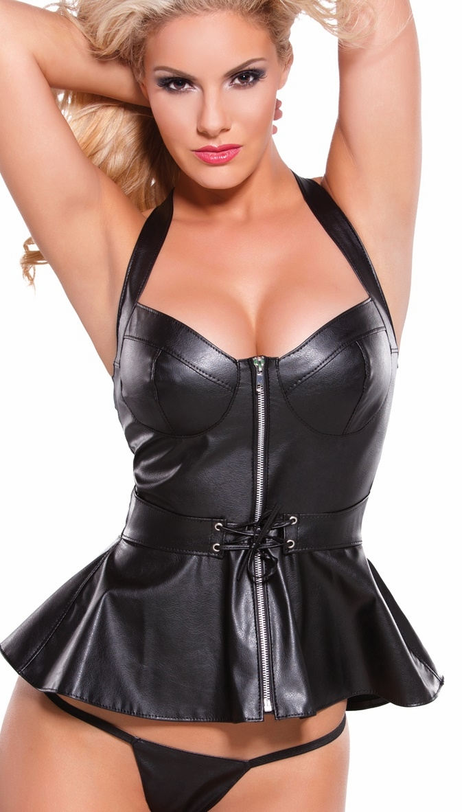 Faux Leather Bra Sets, Bustiers And Faux Leather Sets