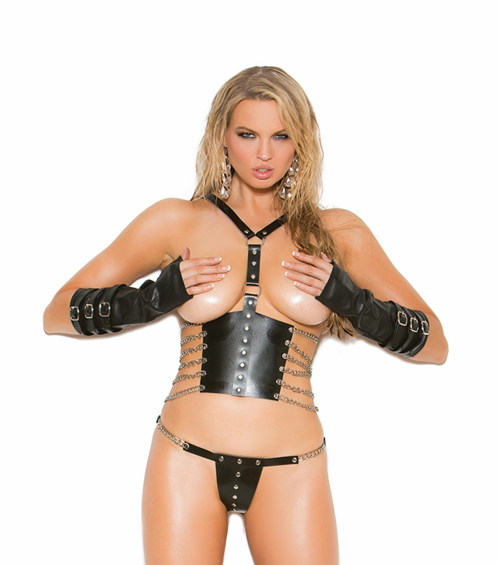 L1166 2pc Leather Cupless Top and G-string Set by Elegant Moments.