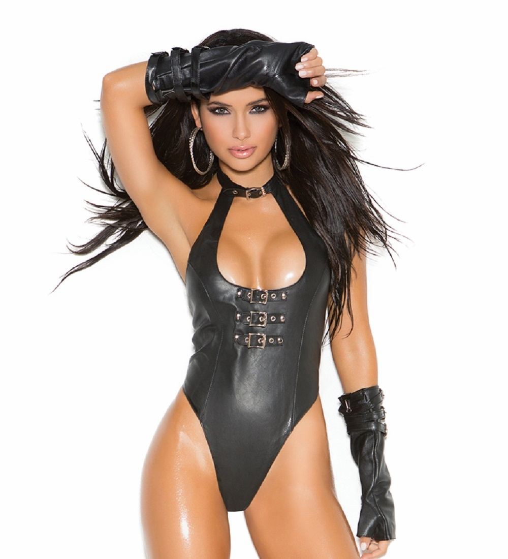L2256 Leather Thong Teddy with Buckle Front OS