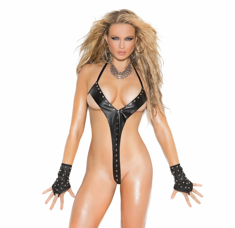 L2258 Leather String Teddy Trimmed in Gommets OS