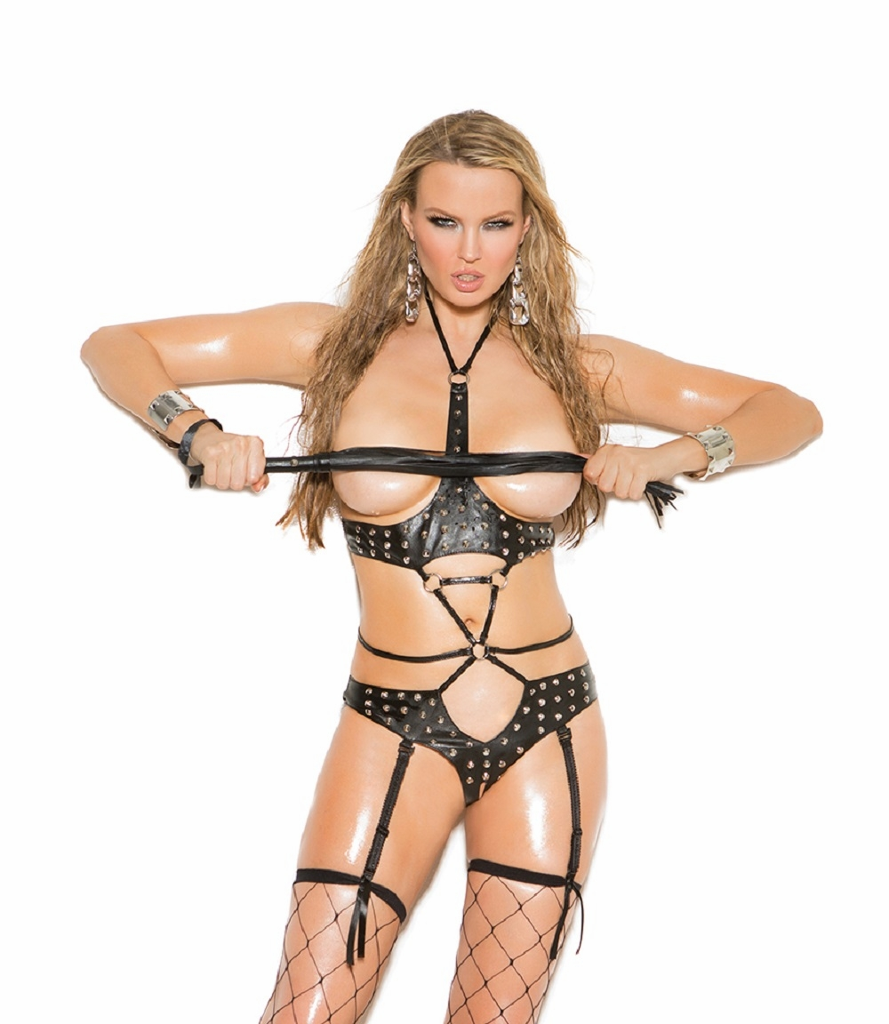 L2259 Studded Leather Crothless and Cupless Teddy OS