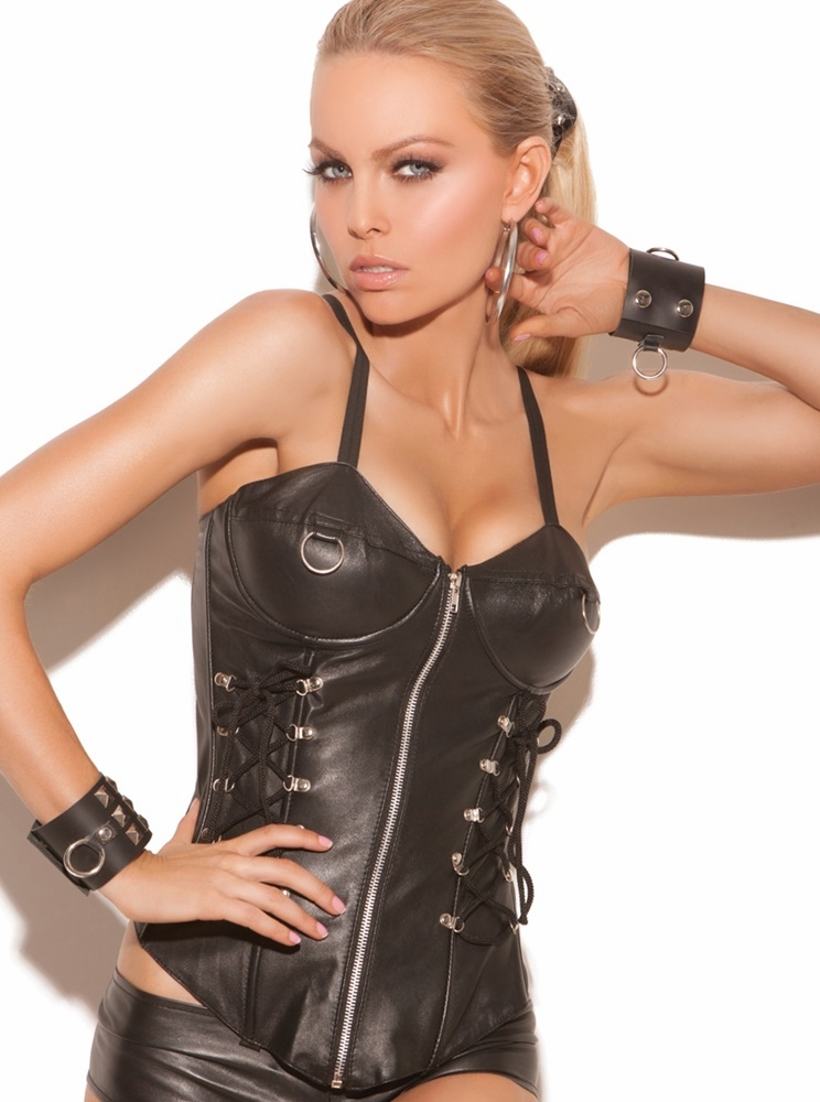 L3133 Leather Underwire Corset w/ Zipper Front by Elegant Moments