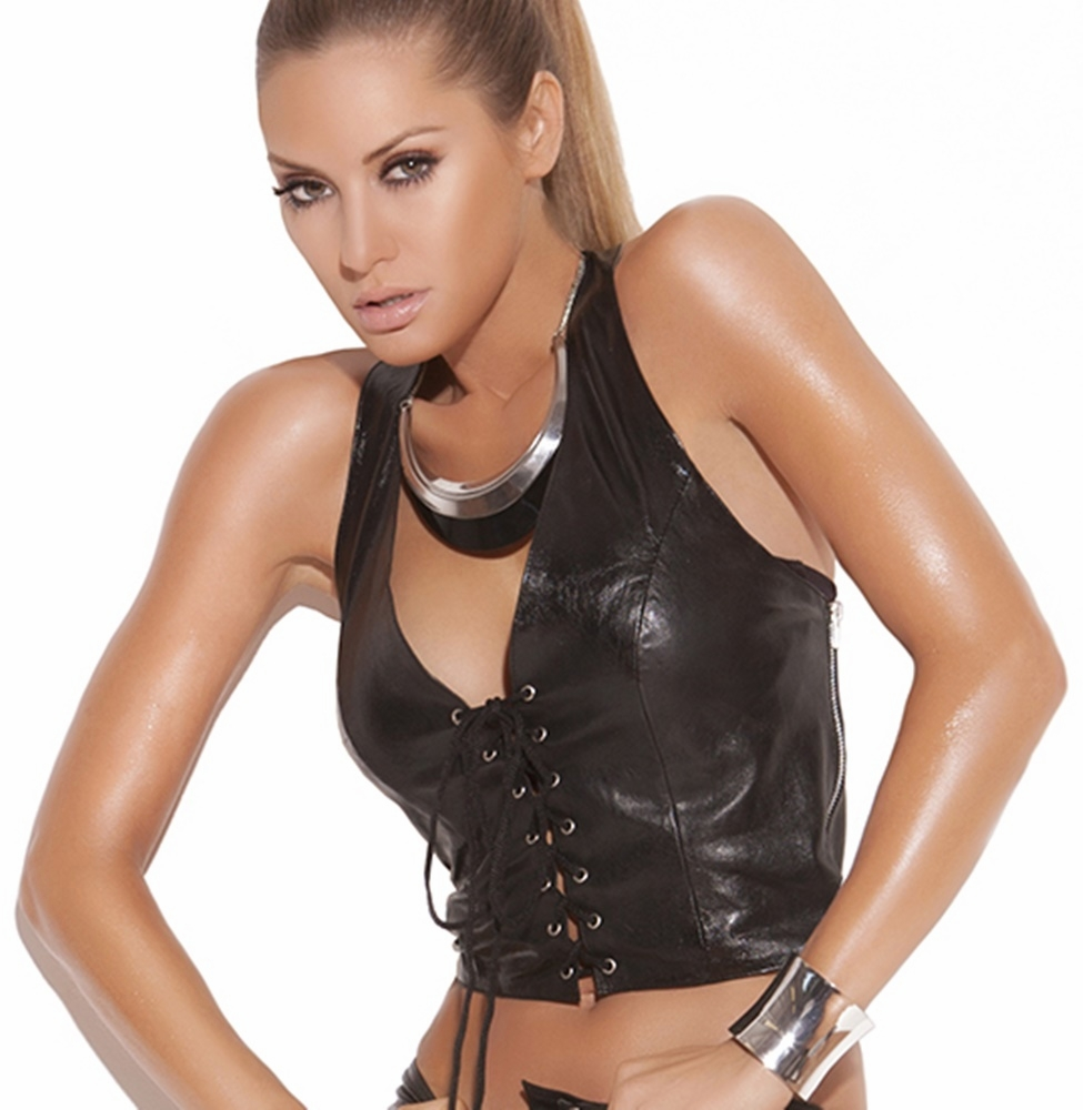 L4114 Sexy Leather Halter Top W/ Lace Up Front  by Elegant Moments