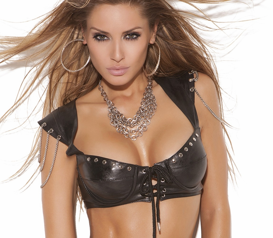 L4890  Leather Bra Top with Underwire Cups and Cap Sleeves