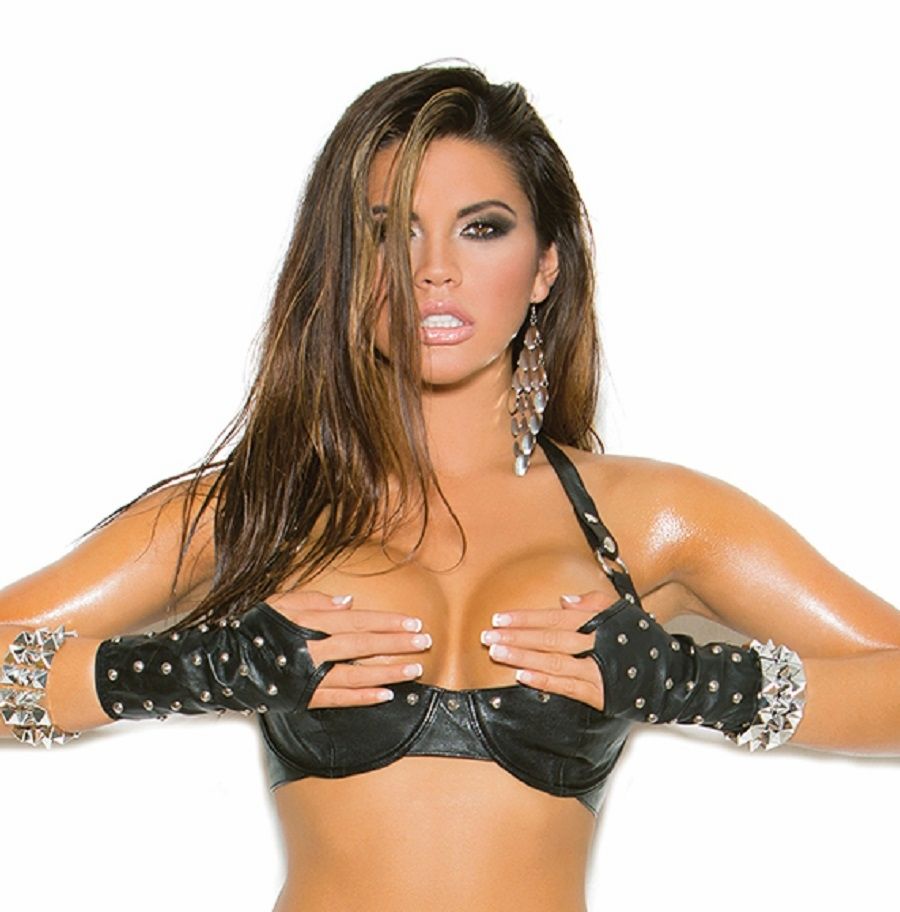 L5131 Studded Leather Bra with Underwire Cups 32-38