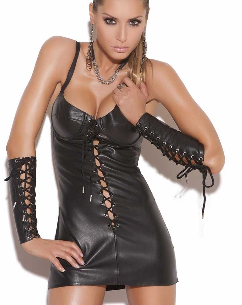 L8103 Lace up Leather Mini Dress by Elegant Moments