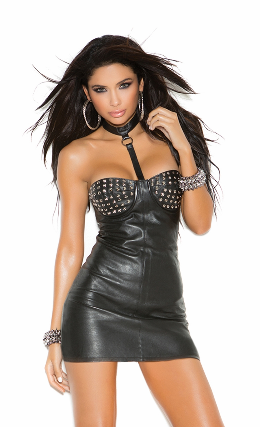 L8151 Black Leather Mini Dress With Studded Underwire Cups by Elegant Moments