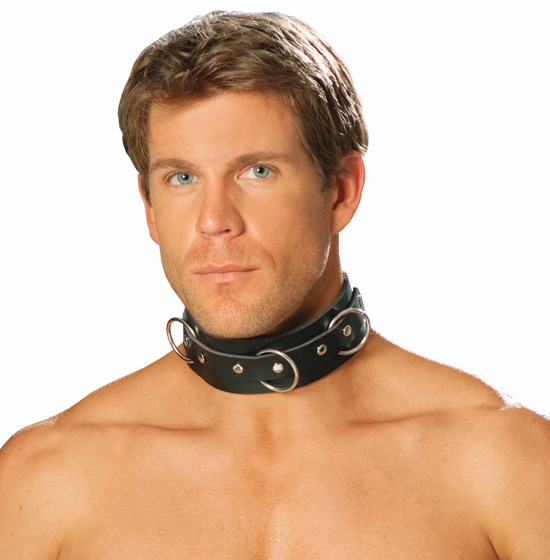 L9066 Unisex Leather O-ring Collar Choker by Elegant Moments