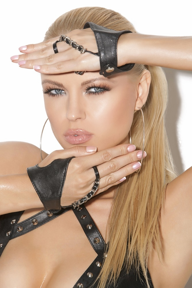 L9108 Leather Fingerless Gloves with Chains by Elegant Moments