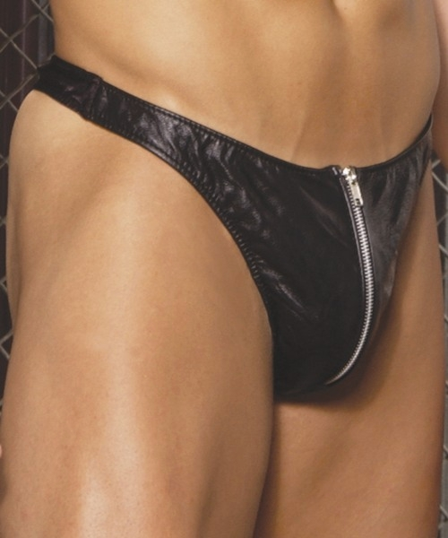 L9138 Mens Leather Zip Up Thong  One Size or XLarge