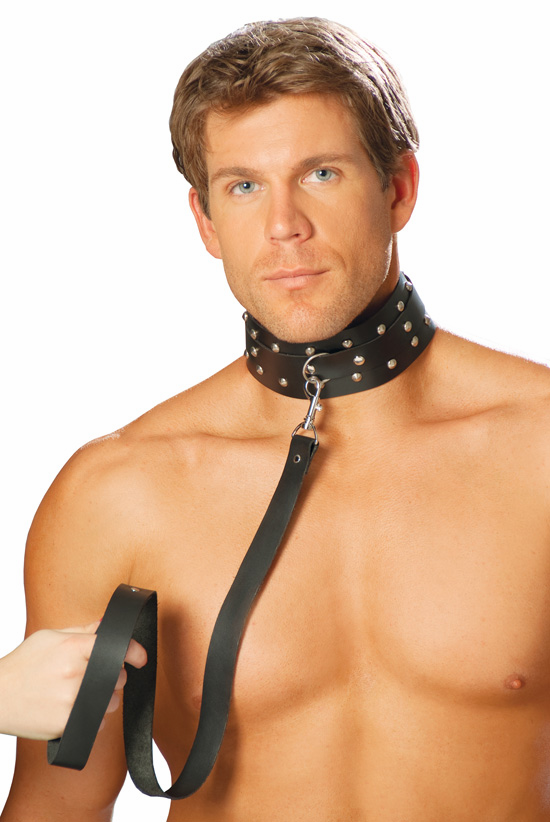 L9147 Unisex Leather Collar with Studs and O Ring by Elegant Moments