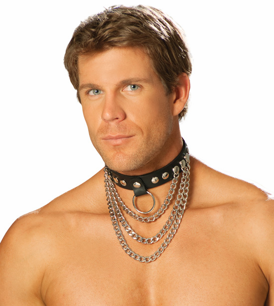 L9149 Unisex Leather Collar with Chains and O ring by Elegant Moments