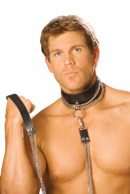 L9166 Chain Leash with Leather Handle by Elegant Moments