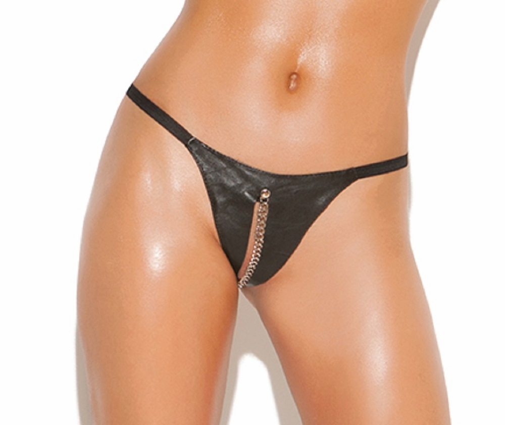 L9187 Leather Peek A Boo G-String with Chain OS