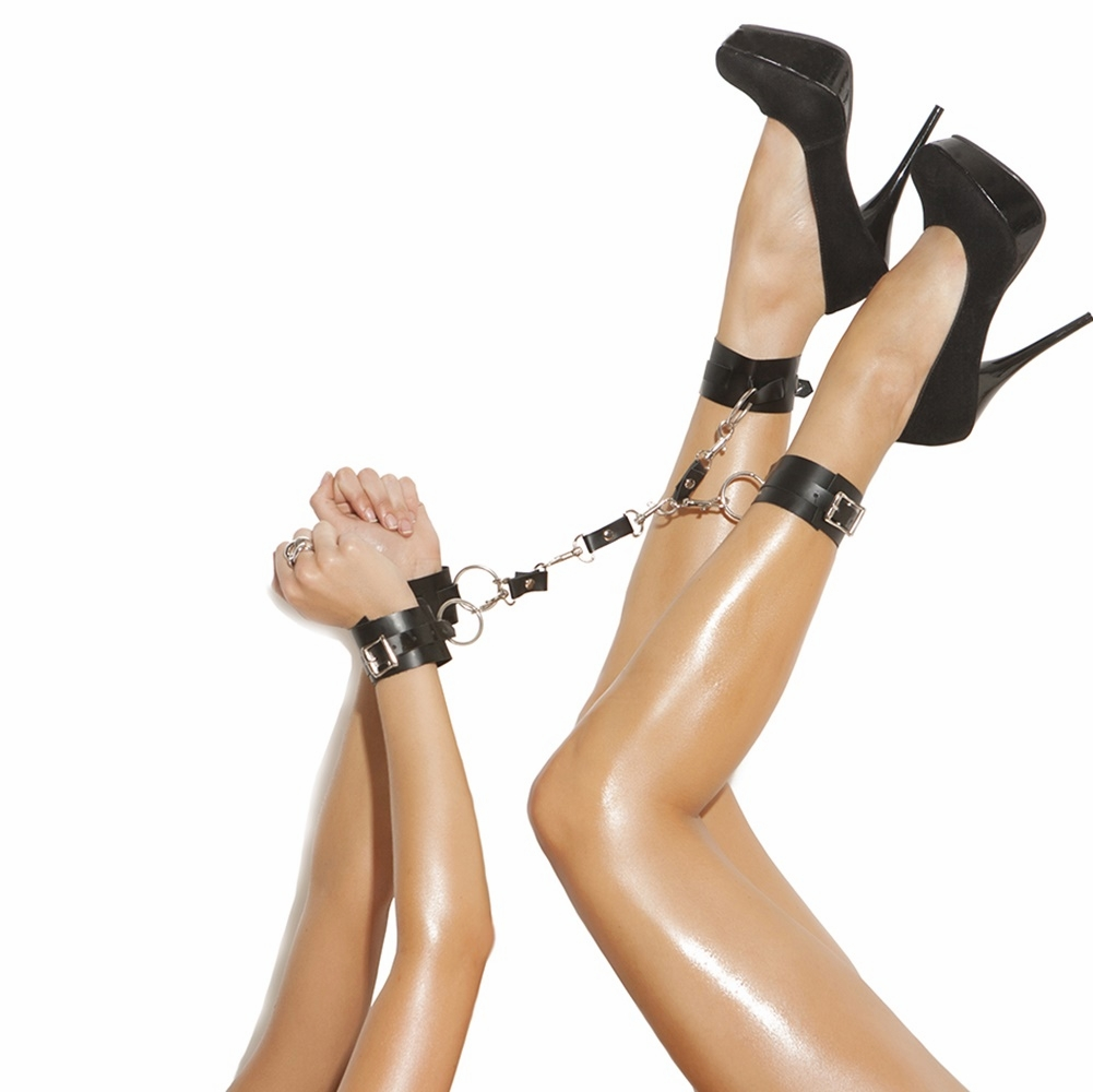 L9256 Leather Wrist to Ankle Restraints by Elegant Moments