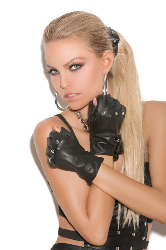 L9416 Leather Fingerless Gloves with Nail Heads by Elegant Moments