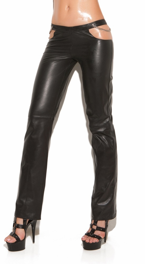 L9425 Leather Lace Up Pants by Elegant Moments
