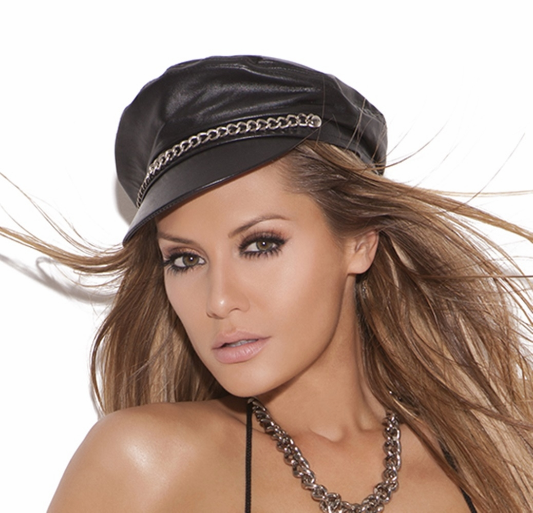 L9895 Leather Hat with Chains by Elegant Moments