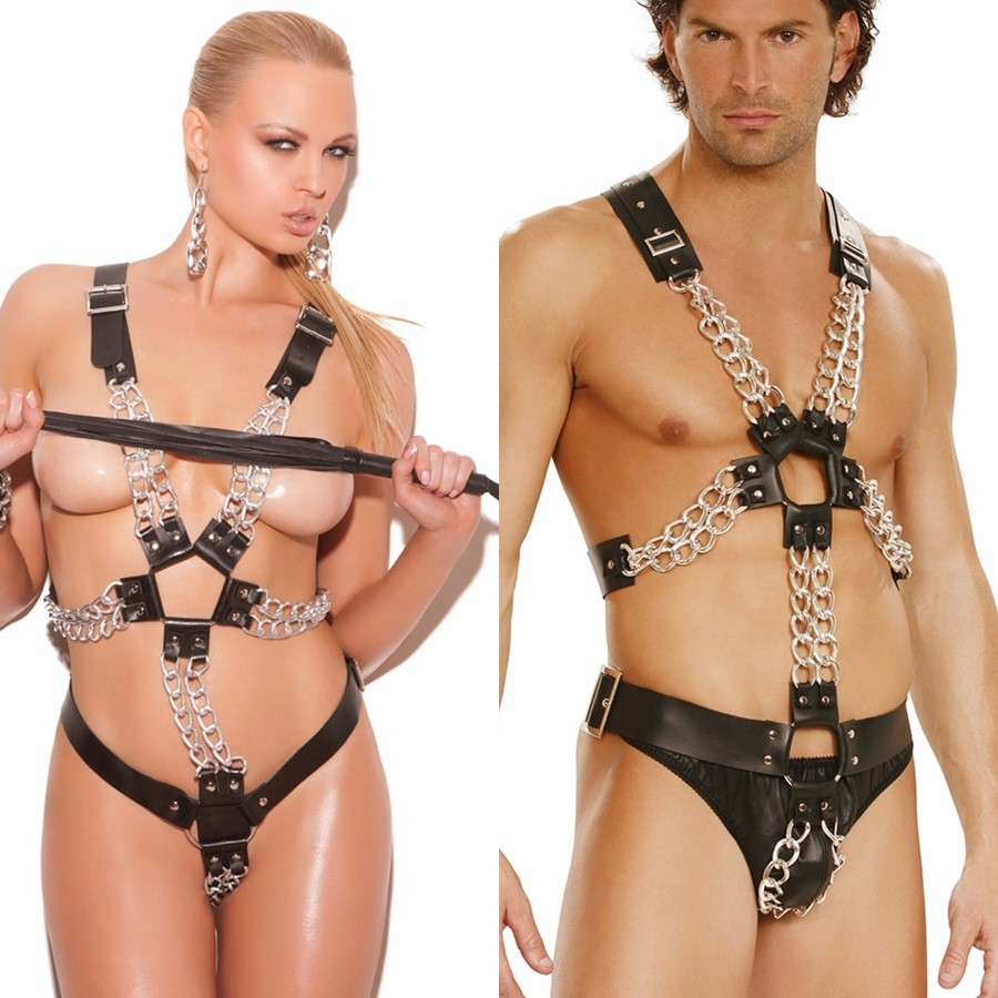 L9992 Unisex Adjustable Leather Harness with Chains