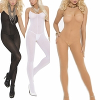 1601 Open Crotch Opaque Bodystocking Hosiery OS