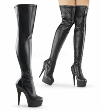 "Delight-3000 Platform Patent Thigh Boot with 5 3/4"" Heel by Pleaser"
