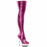"Delight-3005 6"" Heel Shiny Lycra Thigh Platform Boot by Pleaser"