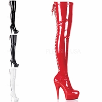 "Delight-3063 6"" Heel Platform Thigh Boot w/ Lace Up Back by Pleaser"