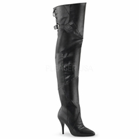 Legend-8890 Black Faux Leather Pull-on Thigh Boot w/ Buckle & Lacing DISCONTINUED