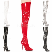 "Seduce-3000 5"" Plain Stretch Thigh High Boot Sizes: 6-16 by Pleaser"