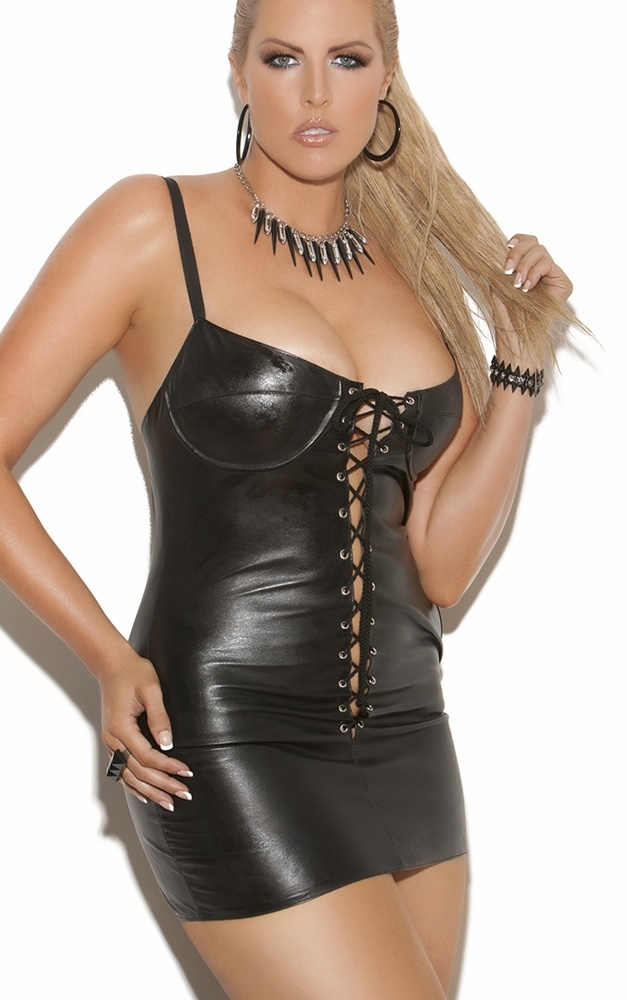 Plus Size Leather Dresses &  Skirts