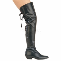 "Rodeo-8822 1 1/2"" Black Faux Leather Thigh Boot with Lace Up Back by Pleaser"