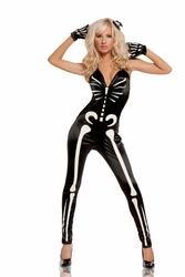 9594 Sexy Womens Skeleton Halloween Glow in The Dark Costume