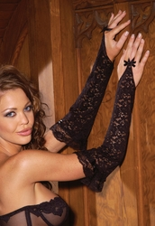 2715 Stretch Lace Finger Gloves with Lace Trim OS