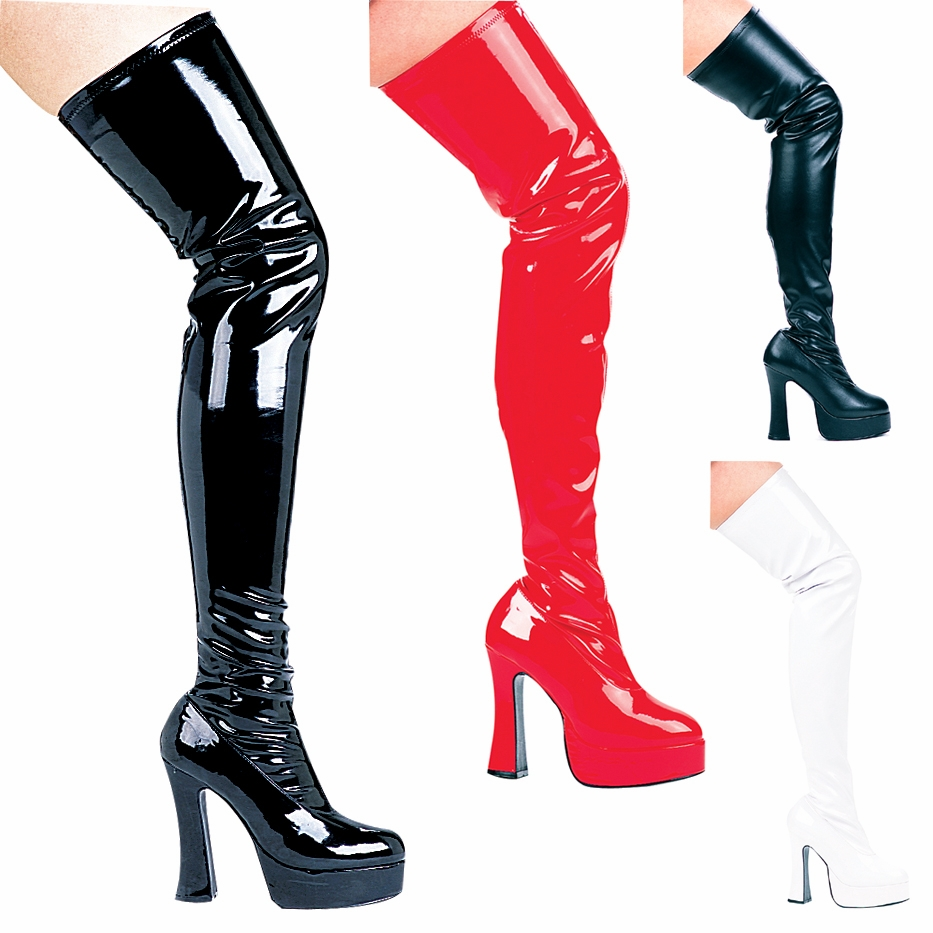 "Thrill 5"" Chunky Heel Patent Thigh High Stretch Boot"