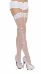 1716 White Bridal Sheer Thigh Hi with Wedding Bells by Elegant Moments