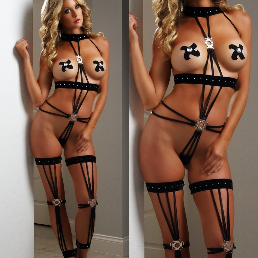 X15 1pc Black Strappy Velour Diamond Teddy w/ Stockings