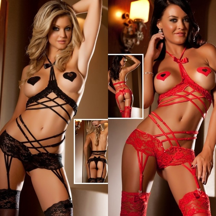 X908 3pc Racy Bodysuit  Cupless Teddy Black or Red
