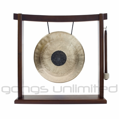 """10"""" Chocolate Drop Gong on the Woodsonic Gong Stand - FREE SHIPPING"""