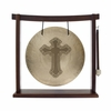 "12"" Cross Engraved Wind Gong on the Woodsonic Gong Stand - FREE SHIPPING"
