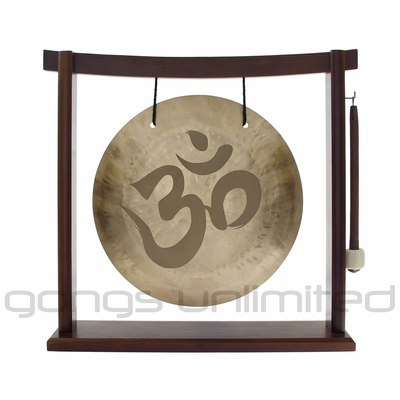"12"" Om Engraved Wind Gong on the Woodsonic Gong Stand - FREE SHIPPING  SOLD OUT"