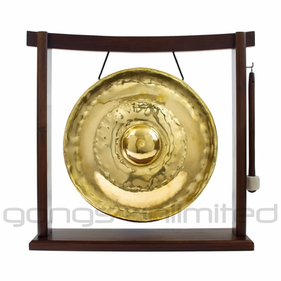 "12"" Thai Golden Nipple Gong on the Woodsonic Gong Stand - FREE SHIPPING"