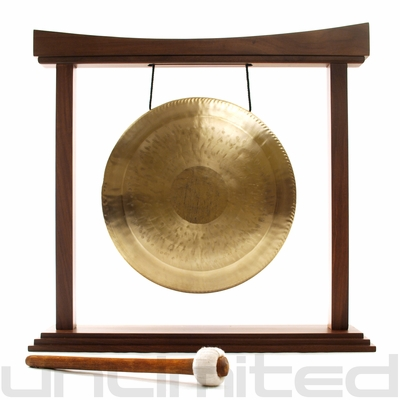 """12"""" White Gong on The Small Eternal Present Gong Stand - FREE SHIPPING"""