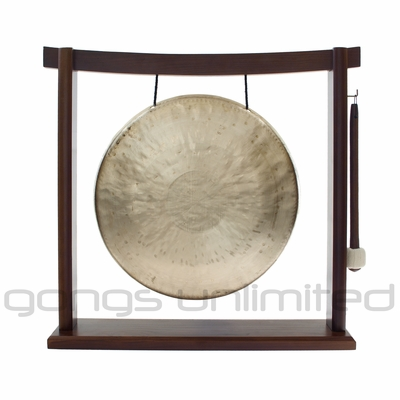"12"" White Gong on the Woodsonic Gong Stand - FREE SHIPPING"