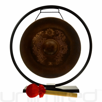 "14"" Vietnamese Dragon Gong on Au Courant Stand - FREE SHIPPING"