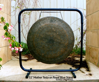 "32"" Mother Tesla Gong on Royal Blue Gong Stand - FREE SHIPPING SOLD OUT"